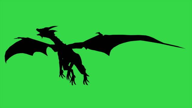 3d animation of dragon in fly silhouette - separated on green screen - drago personaggio fantastico video stock e b–roll