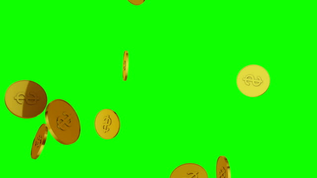 3d animation of falling golden coins - монета стоковые видео и кадры b-roll