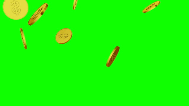 3d animation of falling golden coins