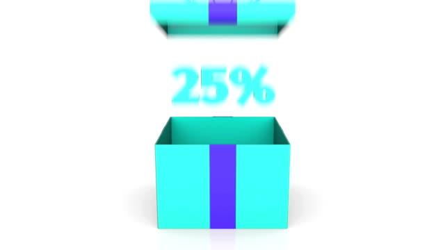 stockvideo's en b-roll-footage met 3d animatie van gift box met 25% korting aankondiging. - aankondigingsbericht