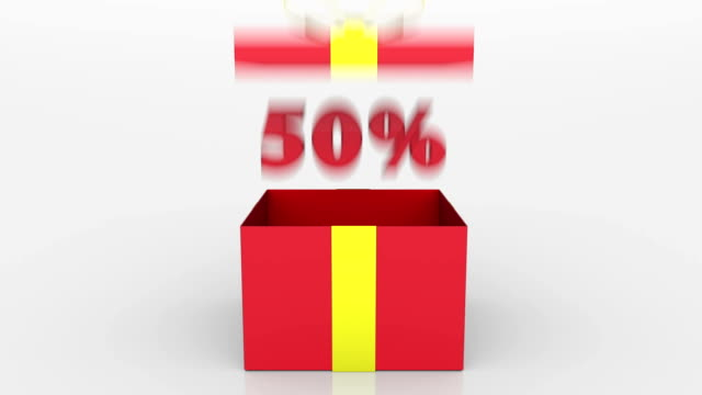 stockvideo's en b-roll-footage met 3d animatie van gift box met 50% korting aankondiging. - aankondigingsbericht
