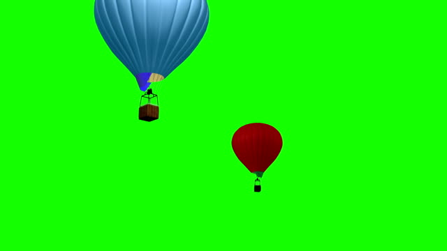 3d animation of Hot Air Ballon flying over green screen video