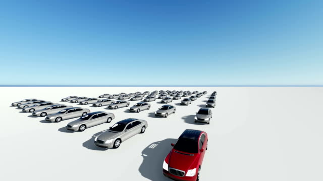 3d animation of hundreds cars, one red video