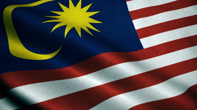 3d animation of malaysia flag. realistic malaysia flag  waving in wind. - malese video stock e b–roll