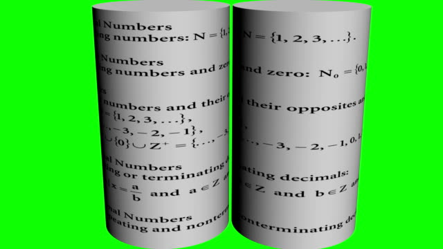 3d animation of mathematics numerical theory and mathematical sign and symbol writing on two rotating cylinders on green screen video
