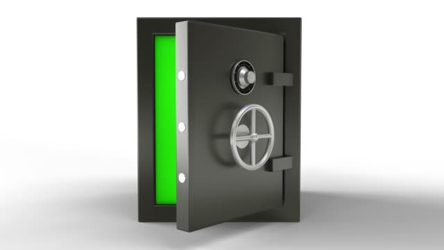 3d animation of opening a metal safe bank box with camera going toward with green screen - safes and vaults stock videos & royalty-free footage