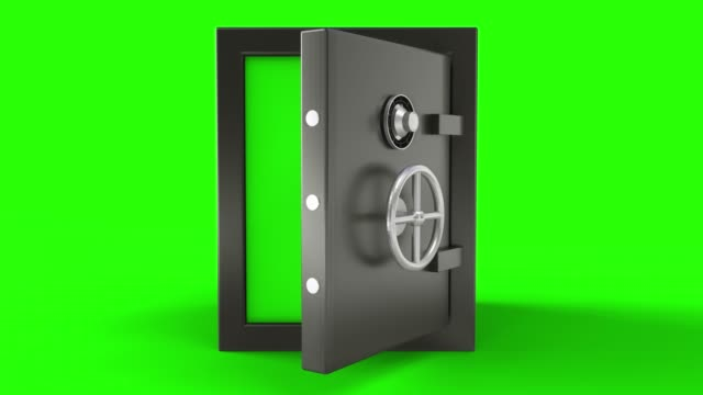 3d animation of opening a metal safe bank box with camera going toward with chroma key background - safes and vaults stock videos & royalty-free footage