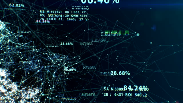 3d animation of the Abstract Global Business Network with Flying Numbers, Dots and Lines. Digital Technology Concept. Looped. HD 1080. video