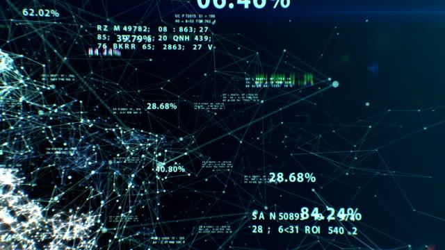 3d-animering av den abstrakta globala affärsnätverk med flygande siffror, punkter och linjer. digital teknik koncept. loopas. hd 1080. - flow bildbanksvideor och videomaterial från bakom kulisserna
