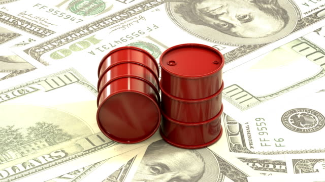 3d animation: Red barrels of oil lie on the background of dollar money. Petroleum business, black gold, gasoline production. Purchase sale, auction, stock exchange. Seamless loop. looped. rotation. video