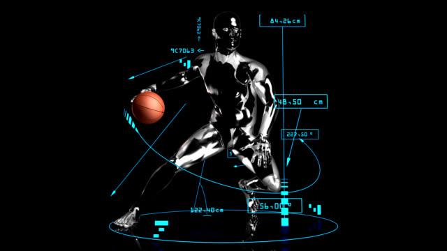 3 d uomo con il basket dribbling smash dati tecnici - balance graphics video stock e b–roll