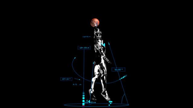 3d basket man smash with technical data