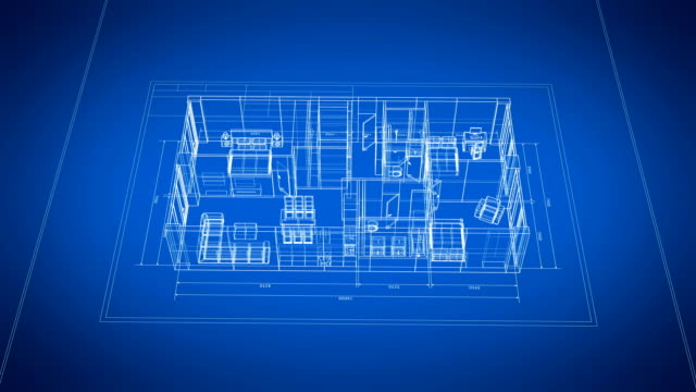3d Blueprint of Abstract Apartments with Furniture Turning on Blue and White Seamless. Looped 3d Animation Grid Mesh. Construction Business Concept.
