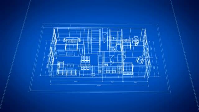 青と白のシームレスにオン家具と抽象的なアパートの3dブループリント。ループされた 3d アニメーション グリッド メッシュ。建設業構想。 - 図面点の映像素材/bロール