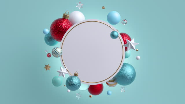 3d christmas background with ornaments. flying decorative glass balls. rotating frame, blank round banner with copy space. - cena di natale video stock e b–roll