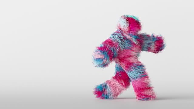 3d colorful hairy cartoon character funny hip hop dancing, furry beast having fun, fluffy mascot looping animation, modern minimal seamless motion design