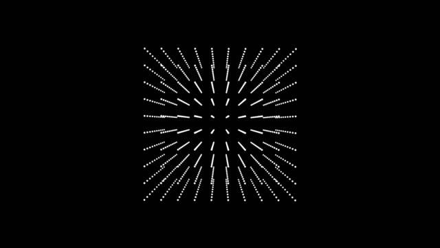 vidéos et rushes de cube 3d de particules blanches tournant sur une diagonale sur un fond noir - cube