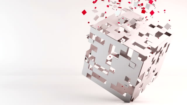3d cube polygon transformation, geometric abstract background video