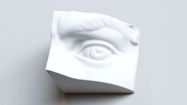 3d david sculpture eye detail, classical drawing anatomy object - скульптура стоковые видео и кадры b-roll