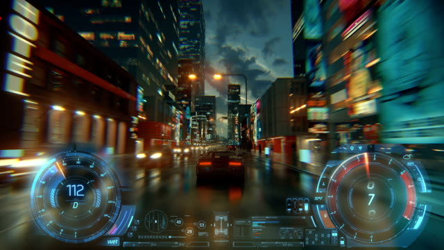 3d fake video game. racing simulation. night city. lights after rain. part 1 of 2. hud - gaming filmów i materiałów b-roll