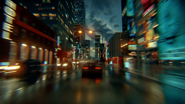 3d fake video game. racing simulation. night city. lights after rain. part 1 of 2. - gaming filmów i materiałów b-roll
