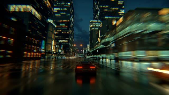 3d sahte video oyunu. yarış simülasyonu. gece şehri. yağmurdan sonra ışıklar. bölüm 2/2. - video oyunu stok videoları ve detay görüntü çekimi