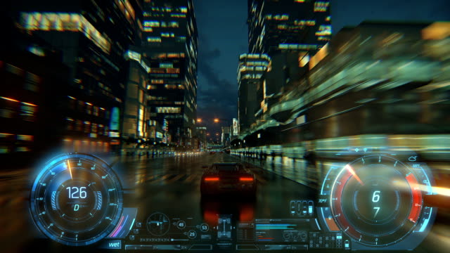 3d fake video game. racing simulation. night city. lights after rain. part 2 of 2. hud - gaming filmów i materiałów b-roll