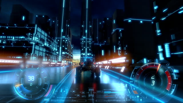 3d fake video game. racing simulation. night city. tron style. part 2of 2. hud - gaming filmów i materiałów b-roll
