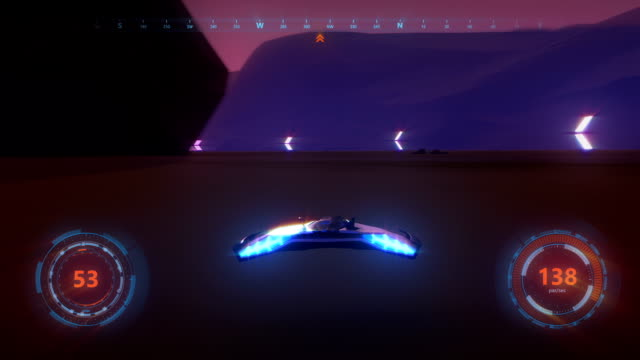 3d fake Video Game. Sci-Fi neon racing gameplay. Part1