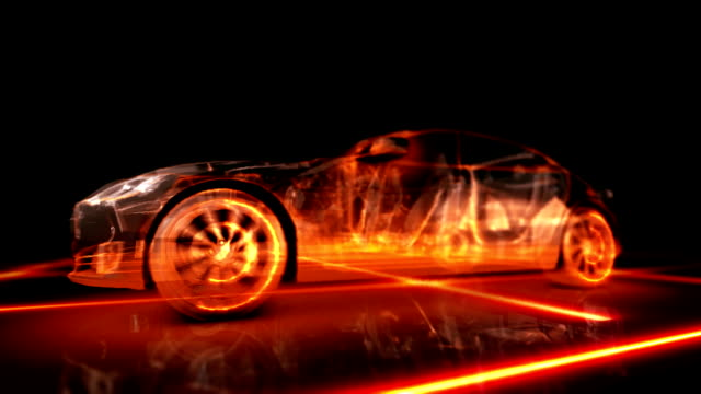 3d fiery appearance of the machine Abstract animation 3d fiery appearance of the car sports car stock videos & royalty-free footage
