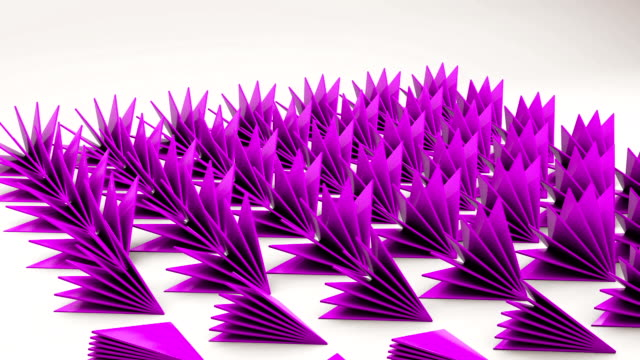 3d geometrical prickly triangles thorns on white floor animation - full hd format video stock e b–roll