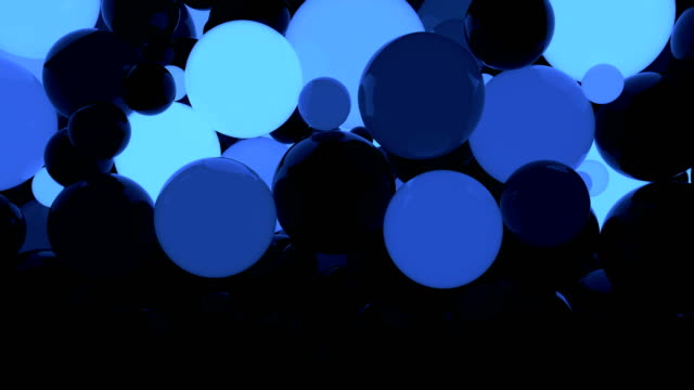 vídeos de stock, filmes e b-roll de 3d brilhantes esferas a fundo, loop sem costura - esfera