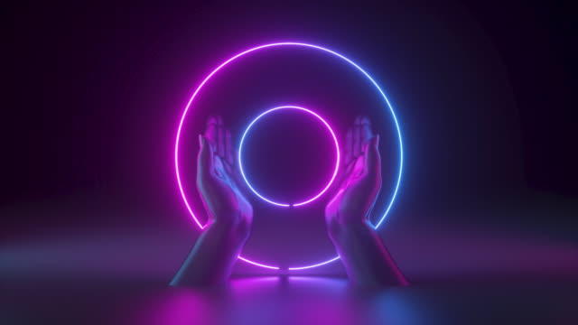 3d hands isolated on black background, holding glowing rings. Blank round frame with copy space. Neon light. Abstract fashion concept.