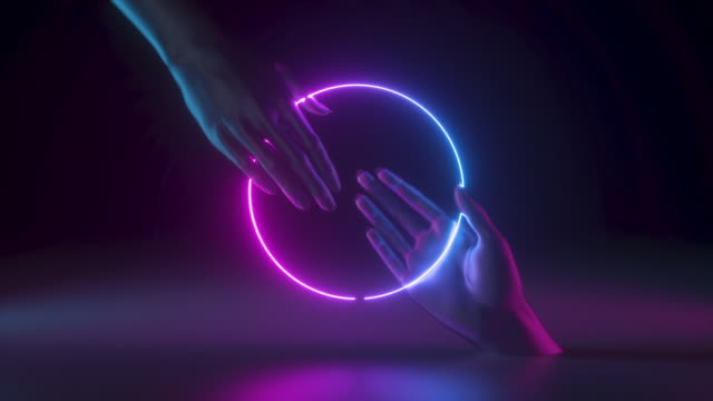 3d hands isolated on black background, holding glowing rings. Neon light. Interactive communication concept.