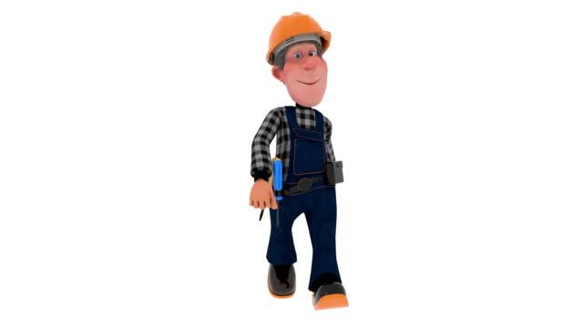 3D Abbildung Builder Arbeiter im Overall – Video