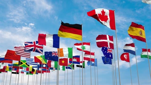 bandiere illustrazione 3d del mondo - bandiera video stock e b–roll