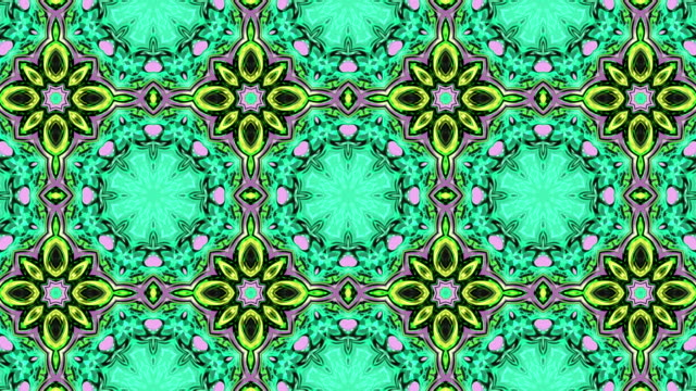 3d Looped abstract ornate decorative background. Hypnotic trendy kaleidoscope.