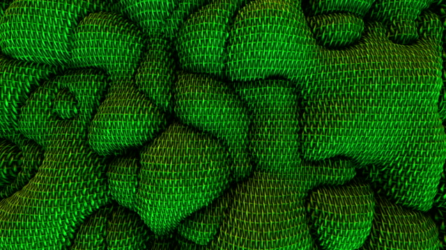 3d Looped abstract wicker background. Wavy surface with ripples and bubbles. Trendy vibrant texture, fashion textile, graphic design, animated basket or wool texture.