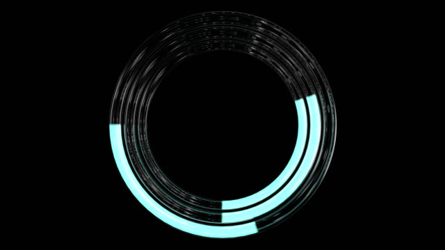 3d Looped animation of Trendy loading neon circles. Progress Icon with alpha channel and green screen. Downloading sign.