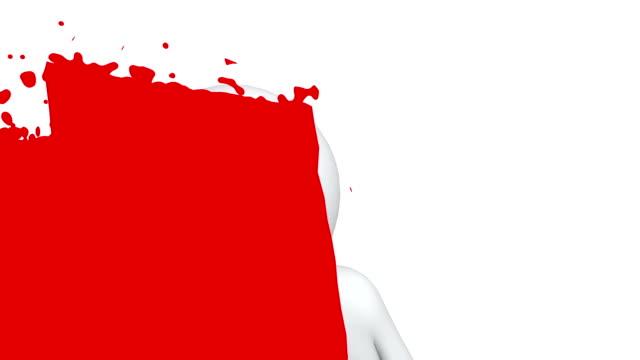 3d man paints the screen video