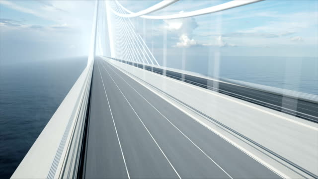 3d model of delivery car on the bridge. Very fast driving. 4k animation.