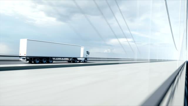 3d model of white truck on the bridge. 4k animation.
