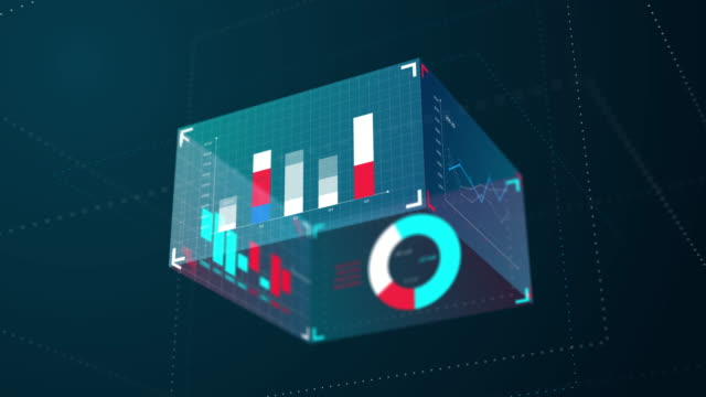 3d Modern blue business information graphic animation move self surround, 4k