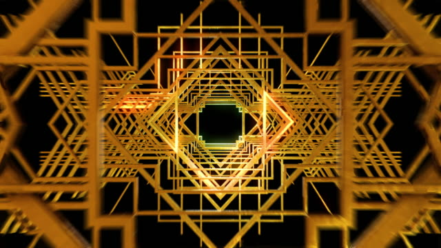 3d motion graphic looping of Art deco gatsby style gold metal structure, flying into the scene.