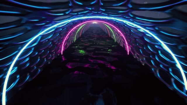 3d render, abstract background, fluorescent ultraviolet light, glowing neon lines, moving forward inside tunnel, blue pink spectrum, modern colorful illumination