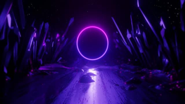 stockvideo's en b-roll-footage met 3d renderen abstracte achtergrond, neon licht vorm. naadloze looping animatie. - naadloos patroon