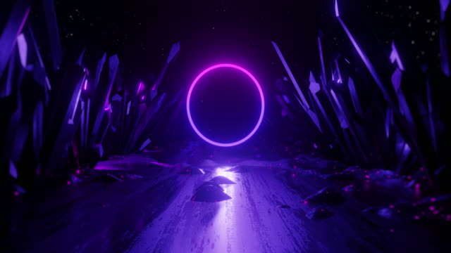 vídeos de stock e filmes b-roll de 3d render abstract background, neon light shape. seamless looping animation. - padrão repetido