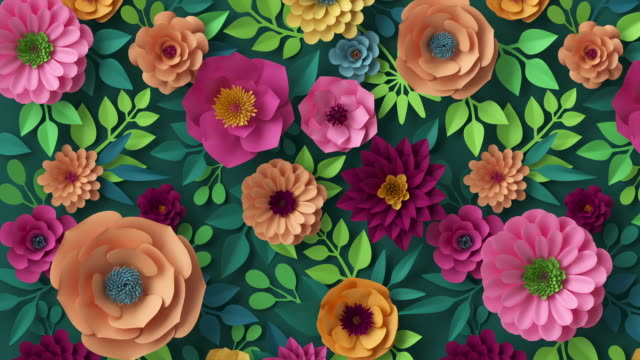 3d render, abstract botanical background animation, blooming live image, creative floral wallpaper, motion design, abstract pink peachy orange yellow paper flowers growing over dark green wall