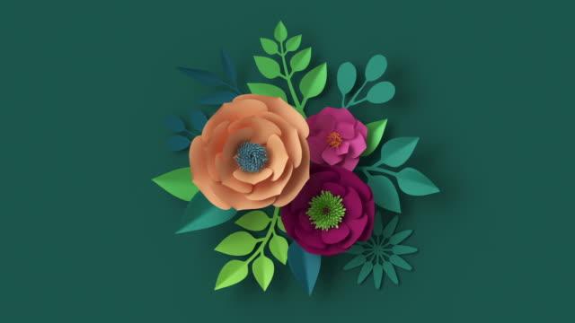 vídeos de stock, filmes e b-roll de renderização 3d, arranjo floral abstrato aparecendo sobre parede verde escura, animação de fundo botânico, imagem ao vivo florescendo, design de movimento, flores de papel laranja rosa e folhas verdes crescendo - estampa floral