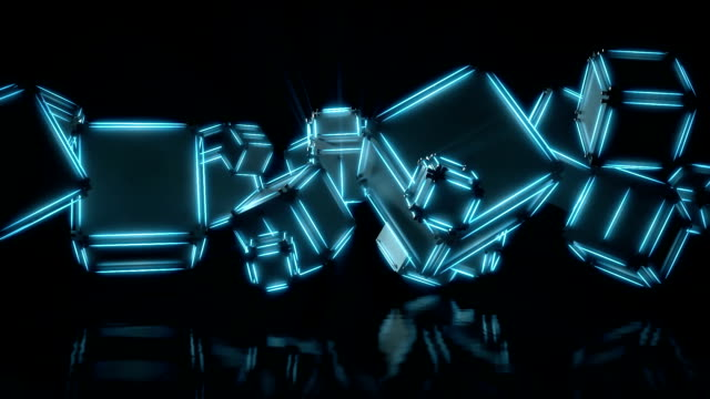 3d render, abstract geometric background, blue light, glowing neon lines rotating, blue spectrum, spinning cubes, modern illumination